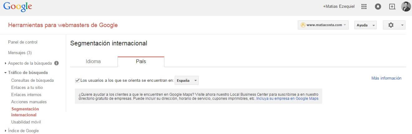 Segmentación Internacional en Webmaster tools