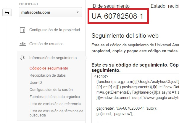 UA de Google Analytics