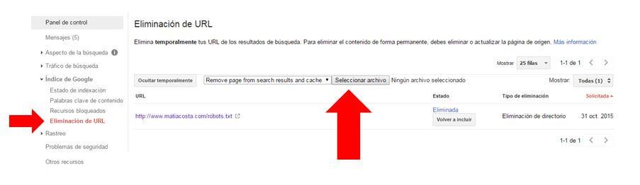 Eliminación de URL webmaster tools