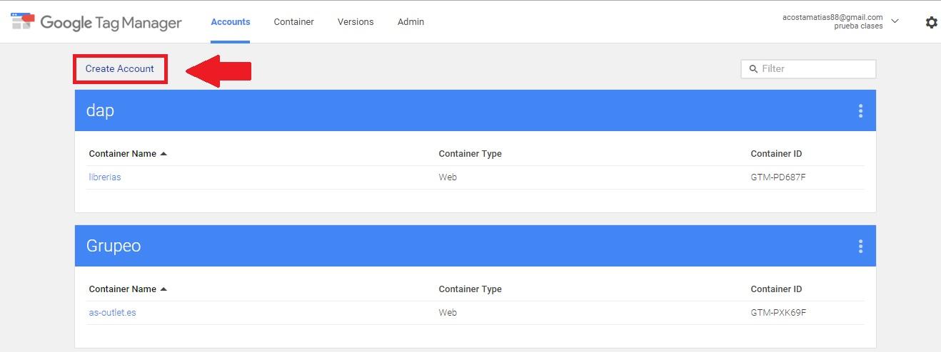 Crear cuenta de Google Tag Manager